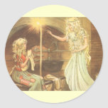 Vintage Fairy Tale, Cinderella and Fairy Godmother Round Sticker