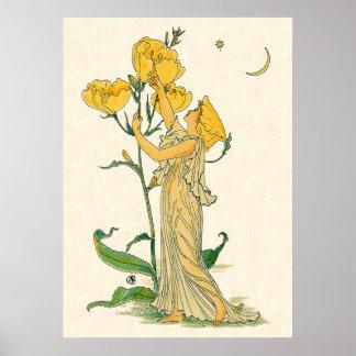 Vintage Fairy Tale, Evening Primrose, Walter Crane Poster