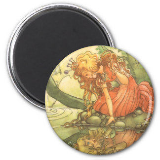 Vintage Fairy Tale, Frog Prince Princess by Pond 6 Cm Round Magnet