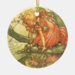 Vintage Fairy Tale, Frog Prince Princess by Pond Christmas Ornaments