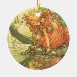 Vintage Fairy Tale, Frog Prince Princess by Pond Christmas Tree Ornament