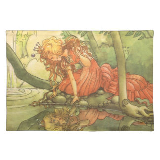Vintage Fairy Tale, Frog Prince Princess by Pond Placemat