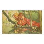 Vintage Fairy Tale, Frog Prince Princess by Pond Poster