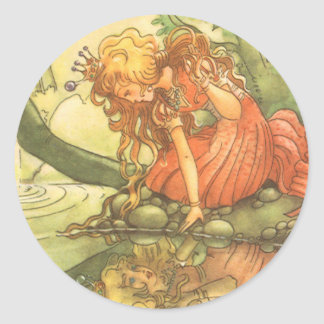 Vintage Fairy Tale, Frog Prince Princess by Pond Round Sticker