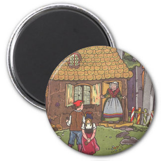 Vintage Fairy Tale, Hansel and Gretel by Hauman 6 Cm Round Magnet