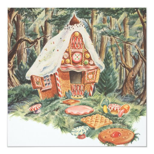 Vintage Fairy Tale, Hansel and Gretel Candy House 13 Cm X 13 Cm Square Invitation Card