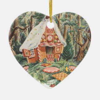 Vintage Fairy Tale, Hansel and Gretel Candy House Ceramic Heart Decoration