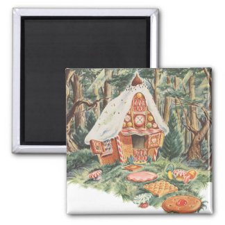 Vintage Fairy Tale, Hansel and Gretel Candy House Square Magnet
