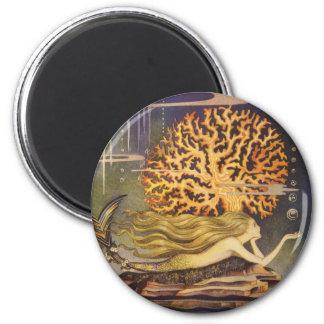Vintage Fairy Tale, Little Mermaid in Ocean Coral 6 Cm Round Magnet