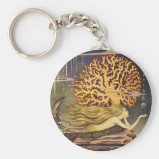 Vintage Fairy Tale, Little Mermaid in Ocean Coral Basic Round Button Key Ring