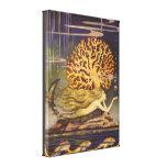 Vintage Fairy Tale, Little Mermaid in Ocean Coral Canvas Print