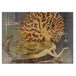 Vintage Fairy Tale, Little Mermaid in Ocean Coral Cutting Boards