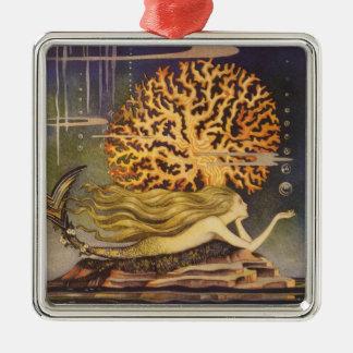Vintage Fairy Tale, Little Mermaid in Ocean Coral Christmas Ornament