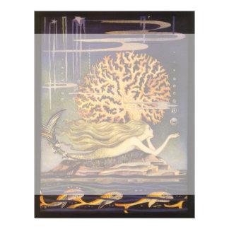 Vintage Fairy Tale, Little Mermaid in Ocean Coral Flyer