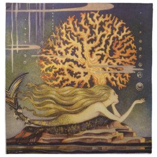 Vintage Fairy Tale, Little Mermaid in Ocean Coral Napkin