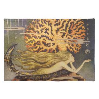 Vintage Fairy Tale, Little Mermaid in Ocean Coral Placemat