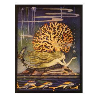 Vintage Fairy Tale, Little Mermaid in Ocean Coral Postcard