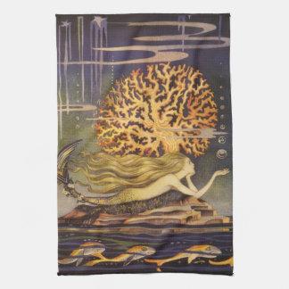 Vintage Fairy Tale, Little Mermaid in Ocean Coral Hand Towel