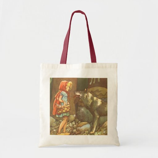 Vintage Fairy Tale, Little Red Riding Hood Budget Tote Bag