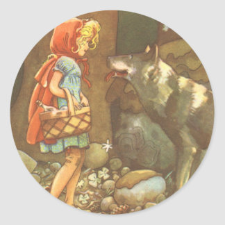 Vintage Fairy Tale, Little Red Riding Hood Round Sticker