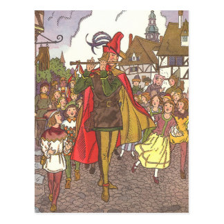 Vintage Fairy Tale Pied Piper of Hamelin by Hauman Postcard