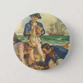 Vintage Fairy Tale Pirates, Treasure Island 6 Cm Round Badge