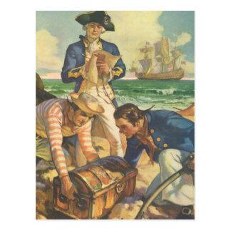 Vintage Fairy Tale Pirates, Treasure Island Postcard