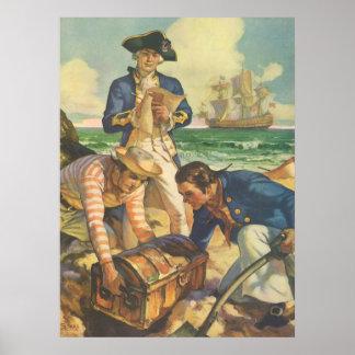 Vintage Fairy Tale Pirates, Treasure Island Poster