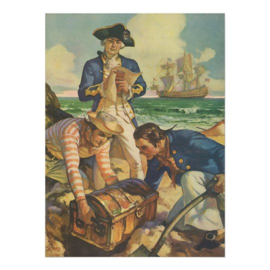 Vintage Fairy Tale Pirates, Treasure Island Poster