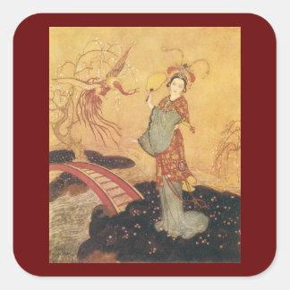 Vintage Fairy Tale Princess Badoura, Edmund Dulac Square Stickers