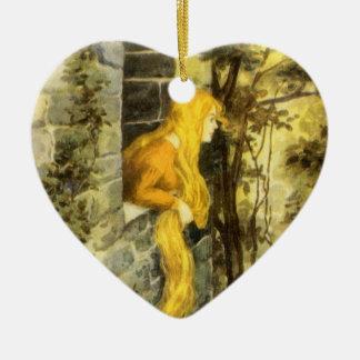 Vintage Fairy Tale, Rapunzel with Long Blonde Hair Ceramic Heart Decoration