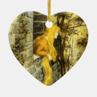Vintage Fairy Tale, Rapunzel with Long Blonde Hair Christmas Ornament