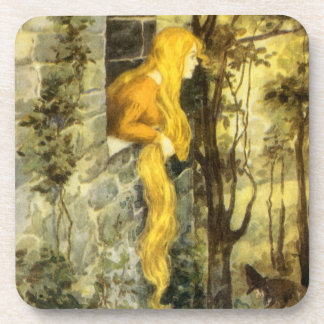 Vintage Fairy Tale, Rapunzel with Long Blonde Hair Drink Coaster