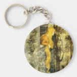 Vintage Fairy Tale, Rapunzel with Long Blonde Hair Basic Round Button Key Ring