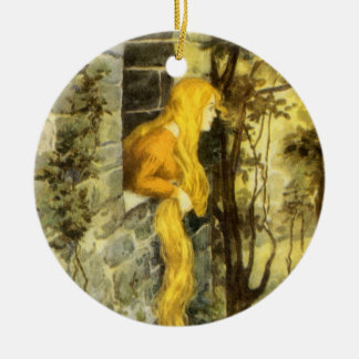 Vintage Fairy Tale, Rapunzel with Long Blonde Hair Round Ceramic Decoration