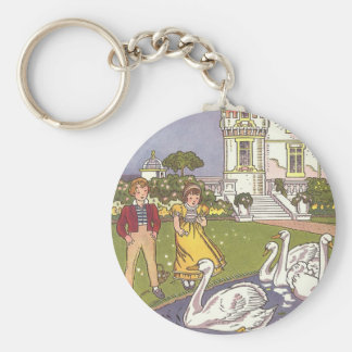 Vintage Fairy Tale, The Ugly Duckling by Hauman Basic Round Button Key Ring