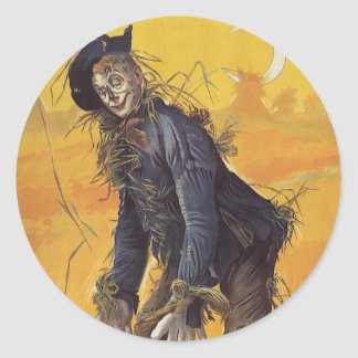 Vintage Fairy Tale, the Wizard of Oz Scarecrow Classic Round Sticker