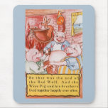Vintage Fairy Tale Three Little Pigs and the Wolf Mousepads