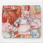 Vintage Fairy Tale Three Little Pigs and the Wolf Mouse Pads