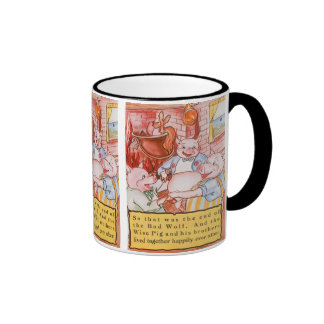 Vintage Fairy Tale Three Little Pigs and the Wolf Ringer Mug