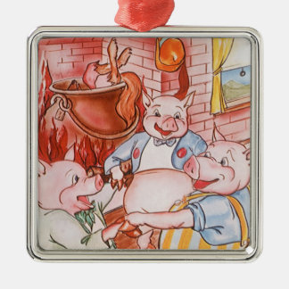 Vintage Fairy Tale Three Little Pigs and the Wolf Silver-Colored Square Decoration