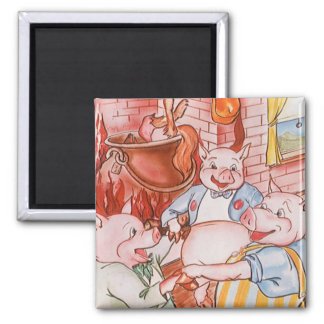 Vintage Fairy Tale Three Little Pigs and the Wolf Square Magnet