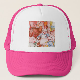 Vintage Fairy Tale Three Little Pigs and the Wolf Trucker Hat