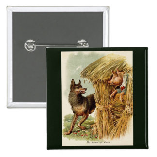 Vintage Fairy Tale, Three Little Pigs and Wolf 15 Cm Square Badge
