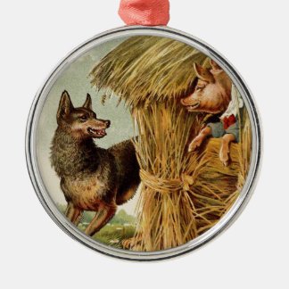 Vintage Fairy Tale, Three Little Pigs and Wolf Christmas Ornament