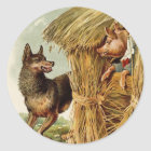 Vintage Fairy Tale, Three Little Pigs and Wolf Classic Round Sticker