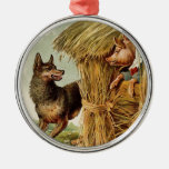 Vintage Fairy Tale, Three Little Pigs and Wolf Christmas Tree Ornaments