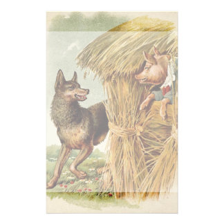 Vintage Fairy Tale, Three Little Pigs and Wolf Stationery