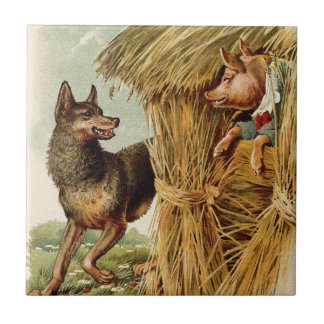 Vintage Fairy Tale, Three Little Pigs and Wolf Tile