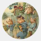 Vintage Fairy Tale, Three Little Pigs Classic Round Sticker
